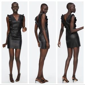 NWOT. Zara Faux Leather Dress. Size XS.